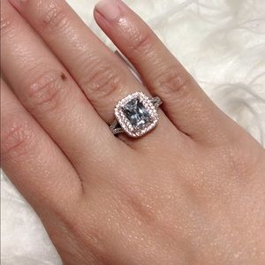 Two Tone Silver Rose Gold Radiant Cut CZ Ring